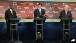 左起:美国共和党总统参选人凯恩、罗姆尼和金里奇
