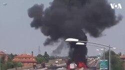Xe bồn nổ tung trên cao tốc ở Ý