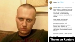 A screenshot of an Instagram post, showing an undated photo of Alexei Navalny in an unknown location