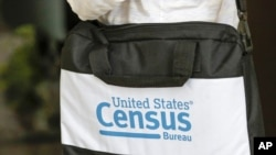 FILE - A briefcase of a census taker is seen as she knocks on the door of a residence, in Winter Park, Fla., Aug. 11, 2020.