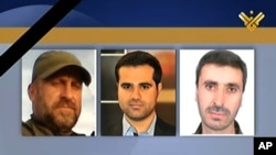 This photo released by Hezbollah-owned Al-Manar TV's Facebook page, shows three Al-Manar TV journalists, cameraman Mohammed Mantash, left, reporter Hamza al-Haj Hassan, center, and technician Halim Allaw, right, who were killed while covering the battle between the Syrian government forces and rebels, in Maaloula, April 14, 2014.