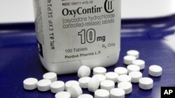 FILE - OxyContin pills are arranged at a pharmacy in Montpelier, Vermont, Feb. 19, 2013.