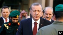 FILE - Turkey's President Recep Tayyip Erdogan arrives to Riyadh, Saudi Arabia, Jan. 24, 2015.