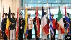 지난 2018년 7월 판문점에서 열린 한국전 정전협정 체결 65주년 기념식에 유엔군사령부 의장대가 도열했다.