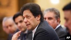 "FILE - Pakistan""s Prime Minister Imran Khan is seen during talks in Beijing, China, Nov. 2, 2018."