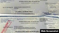 Hai tờ hối phiếu của ông Rafael Vazquez Flores (Ảnh: VNExpress)