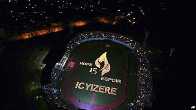 A candlelight display is seen from the air, during a ceremony to mark the 15th anniversary of the start of the Rwandan genocide at Amahoro Peace Stadium, Kigali, Rwanda (File Photo)