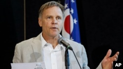 Fred Warmbier, father of Otto Warmbier, a University of Virginia undergraduate student who was imprisoned in North Korea in March 2016, speaks during a news conference, June 15, 2017, at Wyoming High School in Cincinnati, Ohio.