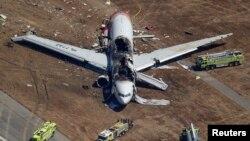 7月6日韓亞飛機失事現場。