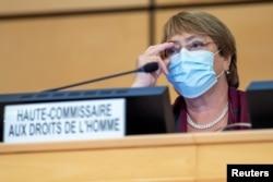 资料照:联合国人权事务高级专员米歇尔·巴切莱特