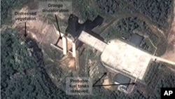 This Sept. 17 satellite image provided by DigitalGlobe and annotated by the U.S.-Korea Institute shows a facility in Sohae, N. Korea where analysts believe rocket engines have been tested.