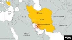ຈຸດບ່ອນເກີດແຜ່ນດິນໄຫວ ໃກ້ໆກັບໂຮງງານນິວເຄລຍ Bushehr ໃນແຂວງ Bushehr (ຄລິກເພື່ອຂະຫຍາຍຮູບ)
