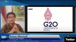 Menlu RI Retno Marsudi. Untuk pertama kalinya Indonesia akan memegang Presidensi G20. (Twitter/@setkabgoid)