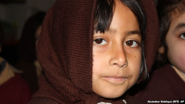 Shama, a student at a school in Mathra, Pakistan