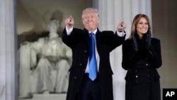 Дональд Трамп и Мелания Трамп. Мемориал Линкольна, Вашингтон, 19 января 2017