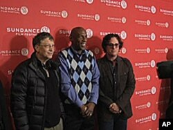 'Waiting for 'Superman'' director Davis Guggenheim (right) and education reformer Geoffrey Canada (center) with Microsoft founder and philanthropist Bill Gates (left).