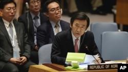 El ministro de Relaciones Exteriores de Corea del Sur, Yun Byung-se, pronunció sus palabras en el Consejo de Seguridad en la sede de las Naciones Unidas, el 28 de abril de 2017.