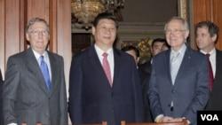 Antes de viajar a Iowa, Xi Jinping se reunió en Washington con líderes del Congreso.