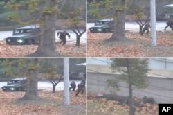 FILE - This combination of images made from Nov. 13, 2017, surveillance video released by the United Nations Command shows a North Korean soldier fleeing to South Korea.