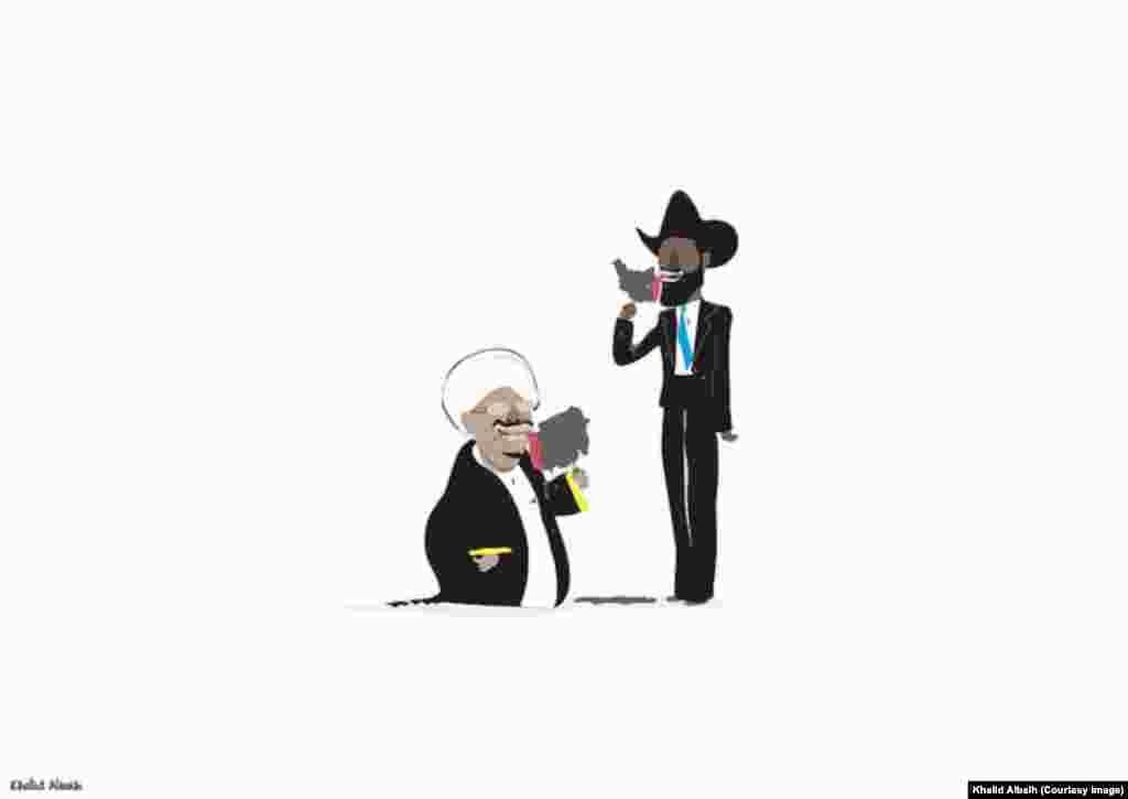 Sudanese President Omar al-Bashir and South Sudanese President Salva Kiir lick ice cream shaped like their countries in this cartoon by Sudanese artist Khalid Albaih.