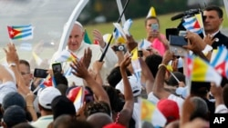 Pope Francis arrives for Mass at Revolution Plaza in Havana, Cuba, Sunday, Sept. 20, 2015.