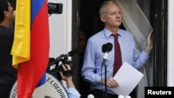 El fundador de WikiLeaks, Julian Assange, leyó un discurso este domingo 19 de agosto, cuando de cumplen dos meses de su residencia en la embajada de Ecuador en Londres.