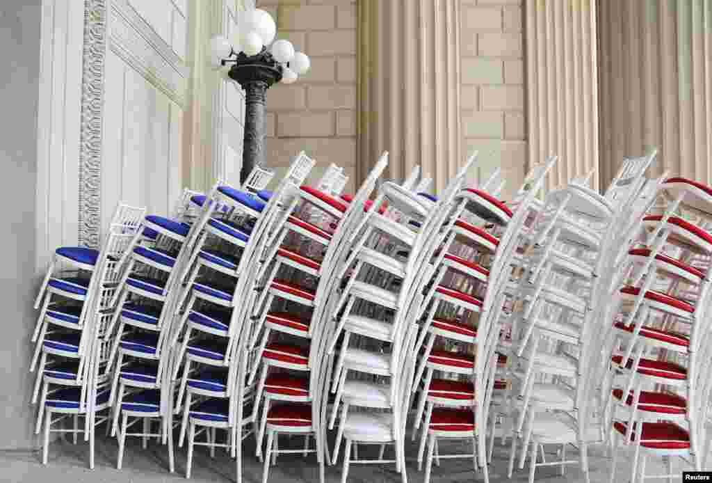 Red, white and blue chairs wait to be deployed at the National Archives ahead of the Fourth of July Independence Day observance in Washington, D.C., July 3, 2013.