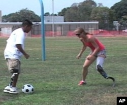 Palmiero-Winters and Diego Barcenas playing soccer