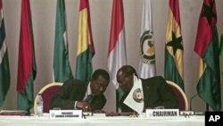 Tổng thống Côte d'Ivoire Alassane Ouattara (phải), chủ tịch ECOWAS trong phiên họp ở Abidjan