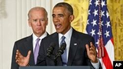 "President Barack Obama, with Vice President Joe Biden, left, outlines the ""It's On Us"" campaign to help colleges and universities to prevent and respond to sexual assault on campus, at the White House in Washington, Sept. 19, 2014."