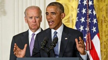 Tổng thống Mỹ Barack Obama và Phó tổng thống Joe Biden trong sự kiện thúc đẩy chiến dịch 'It's On Us' tại Tòa Bạch Ốc, 19/9/2014.