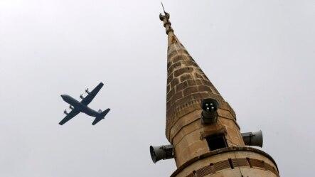 İncirlik'ten kalkan bir Amerikan askeri nakliye uçağı