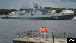 2017年夏季俄羅斯海軍節期間停靠在聖彼得堡的俄海軍軍艦。