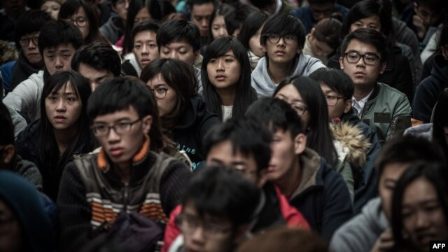 Students take part in a protest at the campus of Hong Kong's leading university HKU in Hong Kong on Jan. 20, 2016.