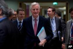 European Union chief Brexit negotiator Michel Barnier arrives for a meeting at the European Council headquarters in Brussels, Nov. 12, 2018.