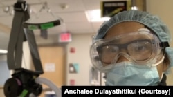 Anchalee Dulayathitikul wears PPE during her shift at the COVID-19 Intensive Care Unit of the UM Upper Chesapeake Medical Center in Bel Air, MD. April 5, 2020.