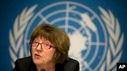 2014年2月5日,联合国儿童权利委员会主席基尔斯滕•桑德伯格在联合国日内瓦总部举行的记者会上讲话。