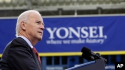 U.S. Vice President Joe Biden delivers a speech at Yonsei University in Seoul, South Korea, Dec. 6, 2013