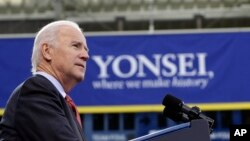 U.S. Vice President Joe Biden delivers a speech at Yonsei University in Seoul, South Korea, Dec. 6, 2013