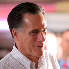 Republican presidential candidate, former Massachusetts Gov. Mitt Romney campaigns at Pancakes Eggcetera in Rosemont, Illinois, March 16, 2012.