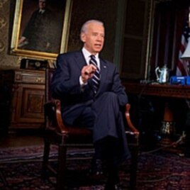 US Vice President Joe Biden records the weekly speech, May 27 2011