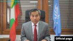 နယူးေယာက္ ျမန္မာကုလကိုယ္စားလွယ္သစ္ ကုလအၿမဲတမ္းကိုယ္စားလွယ္တာ၀န္ယူခဲ့တဲ့ သံအမတ္ႀကီး ဦးေက်ာ္မိုးထြန္း။ (ဓာတ္ပံု - Ministry of Foreign Affairs Myanmar - စက္တင္ဘာ ၂၃၊ ၂၀၂၀)