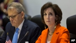 Roberta Jacobson, right, Assistant Secretary of State of the Bureau of Western Hemisphere Affairs, and Jeffrey DeLaurentis, chief of mission at the U.S. Interests Section in Havana, left, attend negotiations with Cuban officials, in Havana, Cuba, Jan. 22,