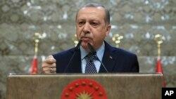 Turkey's President Recep Tayyip Erdogan speaks during a meeting in Ankara, Turkey, Dec. 28, 2017.