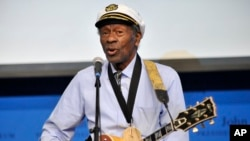 "FILE - Chuck Berry plays ""Johnny B. Goode"" at the John F. Kennedy Presidential Library and Museum in Boston on Sunday, Feb. 26, 2012"