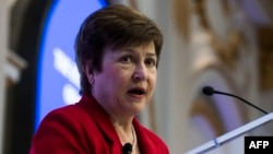 La directrice générale de la Banque mondiale, Kristalina Georgieva, lors de l'initiative Women in Corporate Leadership à la Bourse de New York (NYSE), à New York, le 31 janvier 2018.