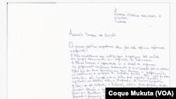 Carta dos réus angolanos acusados de rebelião