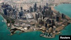 FILE - An aerial view of Doha's diplomatic area March 21, 2013.