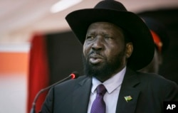 FILE - South Sudan's President Salva Kiir speaks at a special party conference in Juba, South Sudan Thursday, May 3, 2018.