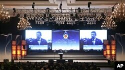 印尼總統在會議開幕上致詞。